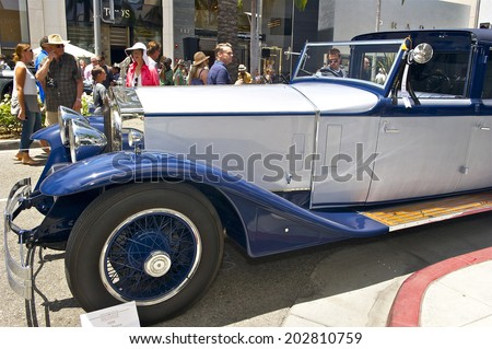 BEVERLY HILLS, CALIFORNIA - JUNE 15, 2014:1930 Rolls-Royce Phantom II Town Car owned by Danny and Phillip Howard at the Rodeo Drive Concours D'Elegance on June 15, 2014 Beverly Hills, California, USA