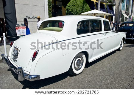 BEVERLY HILLS, CALIFORNIA - JUNE 15, 2014: 1960 Rolls Royce Phantom V owned by Mike Seropian at the Rodeo Drive Concours D'Elegance on June 15, 2014 Beverly Hills, California, USA  - stock photo