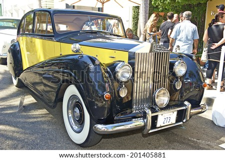 BEVERLY HILLS, CALIFORNIA - JUNE 15, 2014: 1953 Rolls Royce Silver Wraith owned by the Hayman Family at the Rodeo Drive Concours D'Elegance on June 15, 2014 Beverly Hills, California, USA  - stock photo