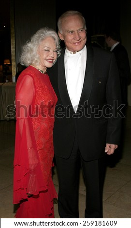 BEVERLY HILLS, CALIFORNIA. November 19, 2005. Buzz Aldrin and wife at the Diamond Jubilee Spirit of Hollywood Awards at the Beverly Hilton Hotel in Beverly Hills, California United States.  - stock photo