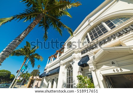 BEVERLY HILLS, CALIFORNIA - NOVEMBER 02, 2016: Palm trees in Rodeo Drive, Beverly Hills