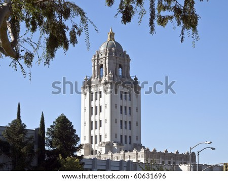 Beverly Hills City Hall building with overhead foliage. - stock photo