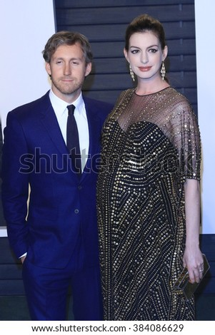 BEVERLY HILLS - FEB 28: Adam Shulman, Anne Hathaway at the 2016 Vanity Fair Oscar Party on February 28, 2016 in Beverly Hills, California - stock photo