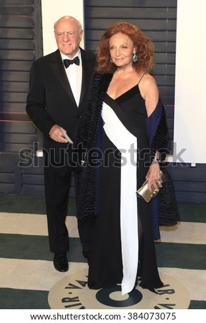 BEVERLY HILLS - FEB 28: Barry Diller, Diane Furstenberg at the 2016 Vanity Fair Oscar Party on February 28, 2016 in Beverly Hills, California - stock photo