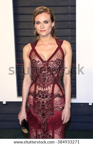 BEVERLY HILLS - FEB 28: Diane Kruger at the 2016 Vanity Fair Oscar Party on February 28, 2016 in Beverly Hills, California - stock photo