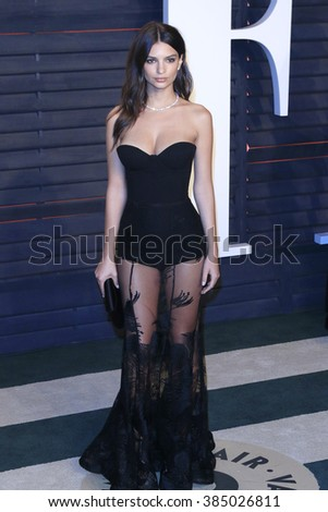 BEVERLY HILLS - FEB 28: Emily Ratajkowski at the 2016 Vanity Fair Oscar Party on February 28, 2016 in Beverly Hills, California - stock photo