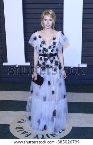 BEVERLY HILLS - FEB 28: Emma Roberts at the 2016 Vanity Fair Oscar Party on February 28, 2016 in Beverly Hills, California - stock photo