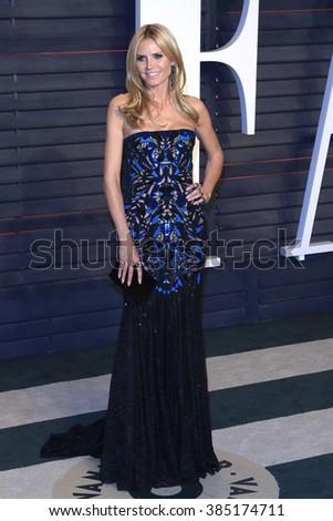 BEVERLY HILLS - FEB 28: Heidi Klum at the 2016 Vanity Fair Oscar Party on February 28, 2016 in Beverly Hills, California - stock photo