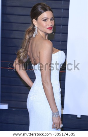 BEVERLY HILLS - FEB 28: Sofia Vergara at the 2016 Vanity Fair Oscar Party on February 28, 2016 in Beverly Hills, California - stock photo