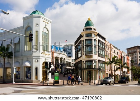 BEVERLY HILLS - FEBRUARY 8: Rodeo Drive of Beverly Hills is a shopping district famous for designer label and haute couture fashion on February 8, 2010 in Beverly Hills. - stock photo
