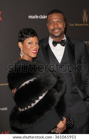 BEVERLY HILLS - JAN. 10: Cynne Simpson and Chris Tucker arrive at the Weinstein Company & Netflix Golden Globes After Party on Sunday, January 10, 2016 at the Beverly Hilton Hotel, Beverly Hills, CA. - stock photo