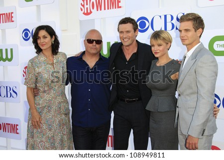 BEVERLY HILLS - JUL 29: Carrie-Anne Moss, Michael Chiklis, Jason O'Mara, Sarah Jones, Taylor Handley at the TCA CBS, Showtime and The CW Summer Press Tour party on July 29, 2012 in Beverly Hills, CA - stock photo