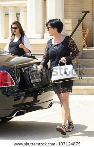 BEVERLY HILLS - JUL 5: Kourtney Kardashian, Kris Jenner out shopping on July 5, 2012 in Beverly Hills , California - stock photo