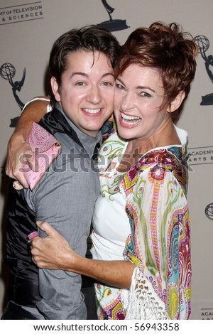 BEVERLY HILLS - JUN 24:  Bradford Anderson & Carolyn Hennesy arrive at the TV Academy's reception for the Daytime Emmy Awards Nominees SLS Hotel  on June 24, 2010 in Beverly Hills, CA - stock photo
