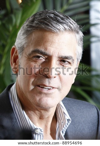 BEVERLY HILLS - NOV 15: George Clooney at the Premiere Of Fox Searchlight's 'The Descendants' at AMPAS Samuel Goldwyn Theater on November 15, 2011 in Beverly Hills, California - stock photo