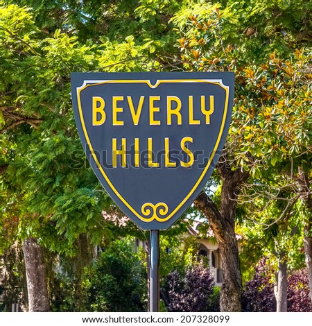 BEVERLY HILLS, US - OCT 21 2013: Beverly Hills sign in Los Angeles seen on October 21, 2013 in Beverly Hills, California USA. - stock photo