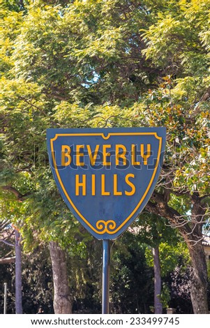 BEVERLY HILLS, US - OCT 21 2014: Beverly Hills sign in Los Angeles seen on October 21, 2014 in Beverly Hills, California USA.