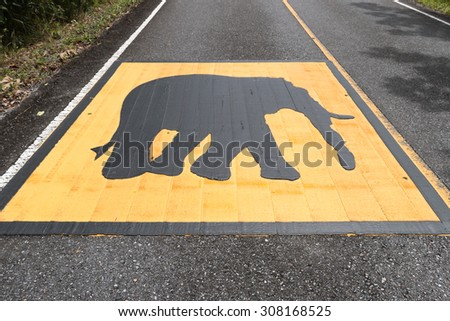 Beware elephant symbol at national park - stock photo