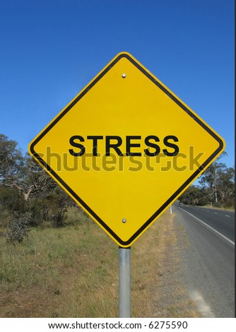 Beware of stress. Yellow warning sign. - stock photo