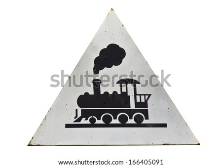 Beware of trains sign on a white background. - stock photo