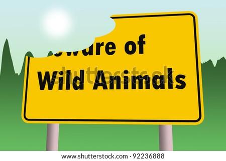 beware of wild animals warning sign - stock photo