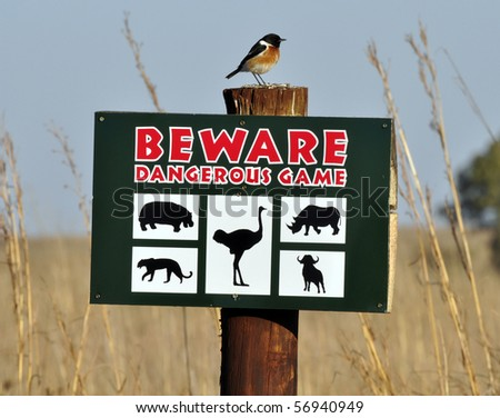Beware sign with a Stonechat sitting on top.