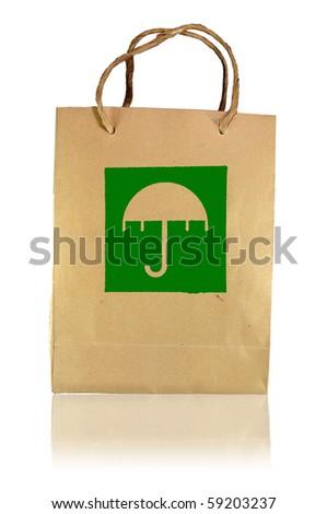 Beware wet logo paper bag - stock photo