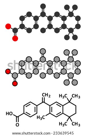 Bexarotene cancer drug molecule. Conventional skeletal formula and stylized representations.