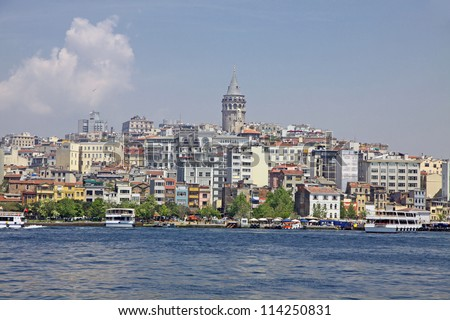 Beyoglu historic district and Galata tower medieval landmark in Istanbul, Turkey - stock photo