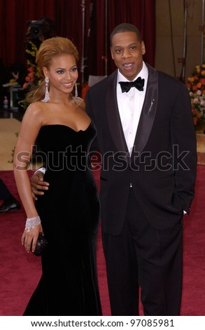 BEYONCE KNOWLES & JAY-Z at the 77th Annual Academy Awards at the Kodak Theatre, Hollywood, CA February 27, 2005; Los Angeles, CA.  Paul Smith / Featureflash - stock photo