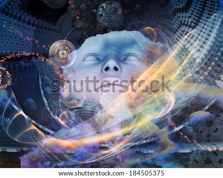 Beyond Human series. Arrangement of human, fractal and natural forms on the subject of inner reality, mental health, imagination, thinking and dreaming - stock photo