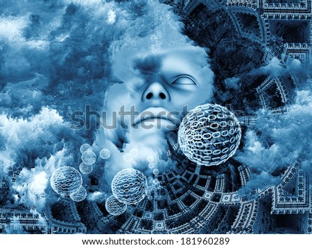 Beyond Human series. Composition of human, fractal and natural forms on the subject of inner reality, mental health, imagination, thinking and dreaming - stock photo