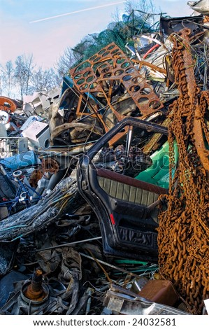 Beyond the consumption society....lies the junkyard. - stock photo