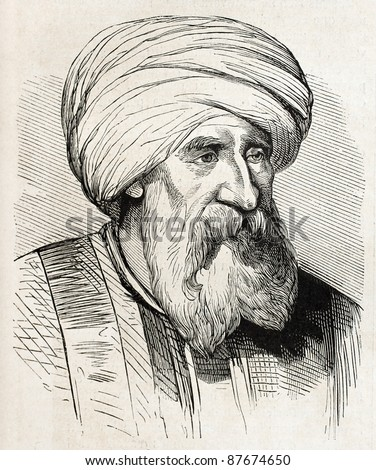 Beyrut marabout old engraved portrait (religious leader and teacher). By unidentified author, published on L'Illustration, Journal Universel, Paris, 1860 - stock photo