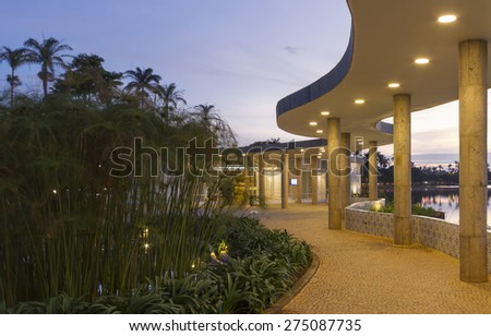 BH, BRAZIL - APRIL 28 - An exterior view of the Casa do Baile in April 28, 2015, in Belo Horizonte, Brazil. Designed by Brazilian architect Oscar Niemeyer. - stock photo