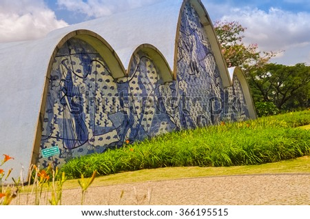 BH, BRAZIL - DECEMBER 23 - An exterior view detail of the church of Sao Francisco de Assis, on December 23, 2015, in Belo Horizonte, Brazil. Designed by Oscar Niemeyer is known as the Pampulha Church. - stock photo