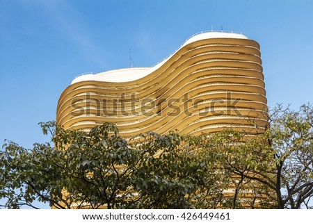 BH, BRAZIL - May 19 - An exterior detail Niemeyer building, on May 19, 2016, in Belo Horizonte, Brazil. Designed by Oscar Niemeyer is known as the Niemeyer building in Liberty Square. - stock photo