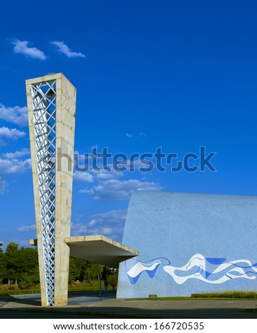 BH, BRAZIL - NOVEMBER 22 - An exterior view of the church of Sao Francisco de Assis, on November 22, 2012, in Belo Horizonte, Brazil. Designed by Oscar Niemeyer is known as the Pampulha Church.