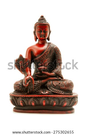 Bhaisajyaguru (the Buddha of healing and medicine) on a white background - stock photo
