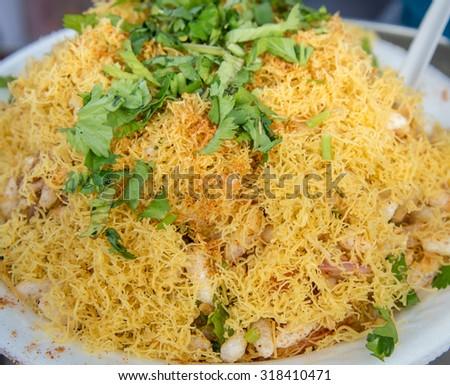 Bhelpuri, a popular Indian street food - stock photo