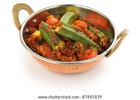bhindi masala, okra curry - stock photo