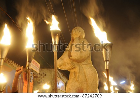 "BHOPAL- DECEMBER 2: ""Bhopal Mother Statue""- opposite of the union carbide gas plant during the torch rally organized to mark the 26th year of Bhopal gas disaster, in Bhopal - India on December 2,2010. - stock photo"