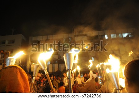 BHOPAL- DECEMBER 2: Victims being photographed by the media during the torch rally to mark the 26th year of Bhopal Gas disaster, in Bhopal - India on December 2, 2010. - stock photo