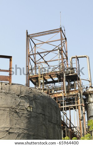 BHOPAL - NOVEMBER 17: The top part of the plant that actually leaked the deadly MIC gas in 1984, in Bhopal - India on November 17, 2010. - stock photo