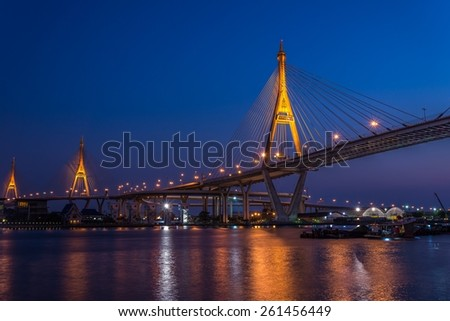 Bhumibol Bridge at evening twilight, Bangkok Thailand - public bridge / No commercial logo