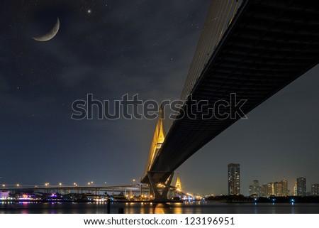 Bhumibol bridge at night, Bangkok Thailand - stock photo