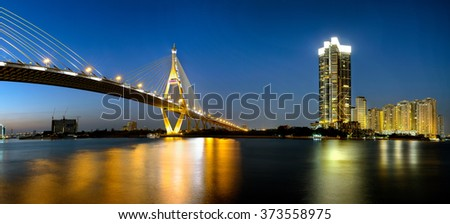 Bhumibol bridge by night, Bangkok Thailand