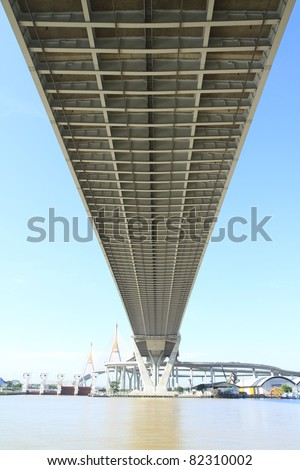 Bhumibol Bridge in Thailand, also known as the Industrial Ring Road Bridge. The bridge crosses the Chao Phraya River. - stock photo