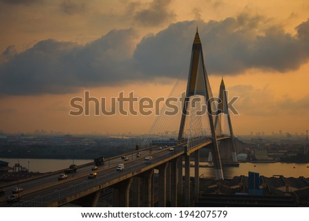 Bhumibol Bridge in Thailand in the morning. - stock photo