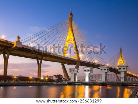 Bhumibol Bridge in Thailand (the Industrial Ring Road Bridge) in Thailand